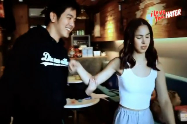 "WATCH: Julia Barretto's ""tampo"" moment after Joshua Garcia accidentally spilled liquid to her pants"