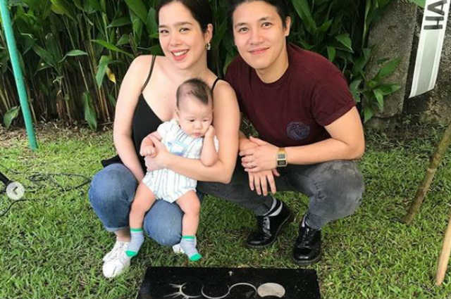 Saab Magalona's baby Pancho visits his late twin and grandfather Francis Magalona for the first time