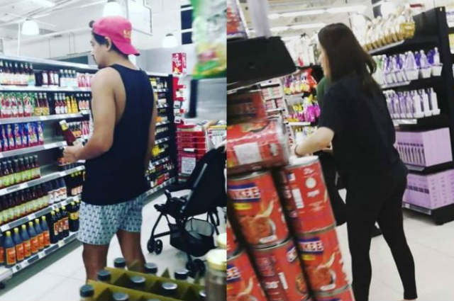 John Lloyd Cruz and Ellen Adarna spotted while grocery shopping