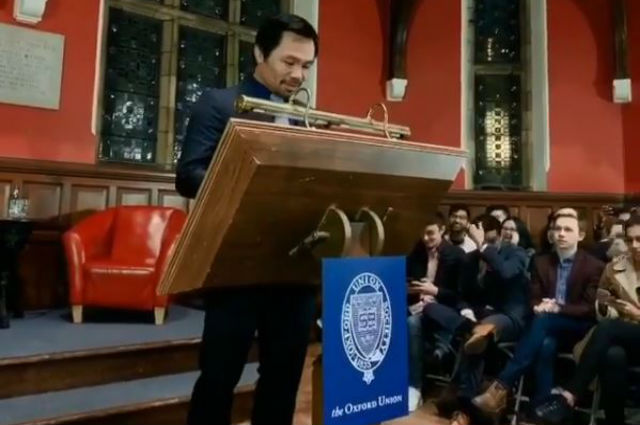 Manny Pacquiao shares 'rags to riches' story in his Oxford Union speech