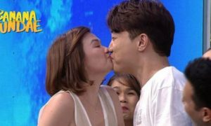 Ryan Bang gets 'kilig' after getting a kiss on the lips from Angelica Panganiban