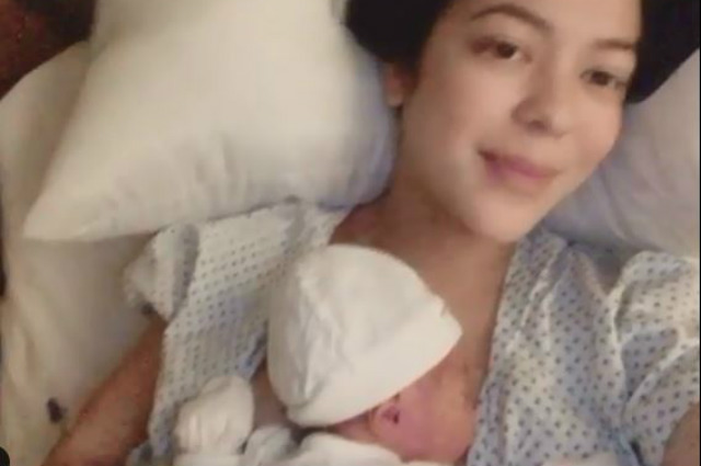 Karel Marquez gives birth to her baby boy