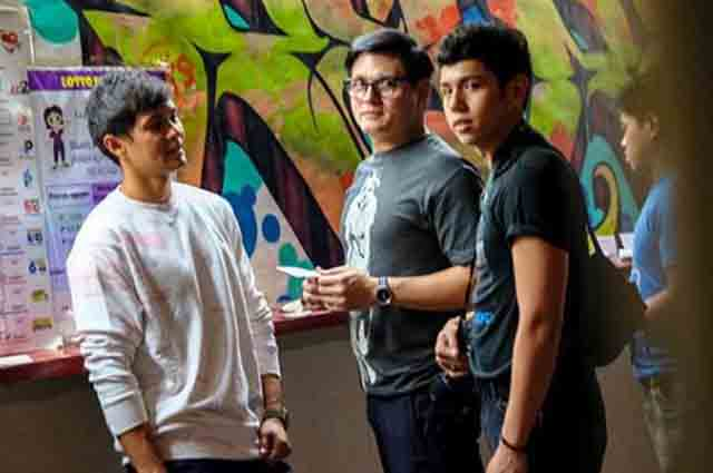 Matteo Guidicelli and friends test their luck in Lotto