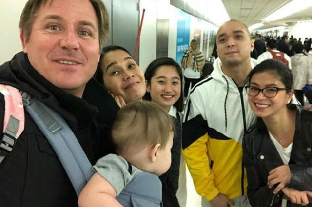 LOOK: Pokwang and family bump into Angel Locsin and Neil Arce at the airport