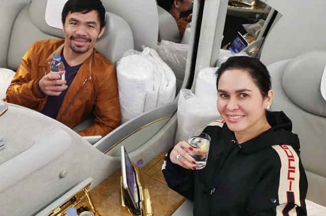 LOOK: Jinkee and Manny Pacquiao take a luxurious business class flight
