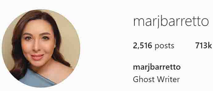 Marjorie Barretto changes IG profile to 'Ghost Writer'